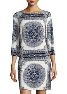 Laundry by Shelli Segal Scarf-Print 3/4-Sleeve Dress, Black/Multi