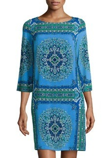 Laundry by Shelli Segal Scarf-Print 3/4-Sleeve Dress, Princess Blue/Multi