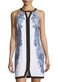 Laundry by Shelli Segal Scarf-Print Keyhole Sleeveless Dress
