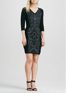 Laundry by Shelli Segal Scroll-Print V-Neck Sweaterdress