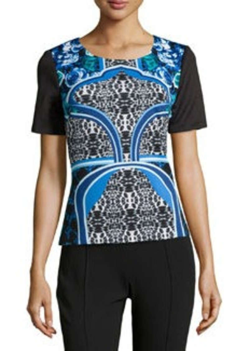 Laundry by Shelli Segal Scuba Jersey Mixed Print Top, Black/Multi