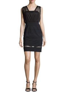 Laundry by Shelli Segal Seamed Knit & Mesh Dress