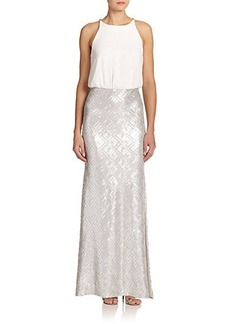 Laundry by Shelli Segal Sequin & Chiffon Blouson Gown