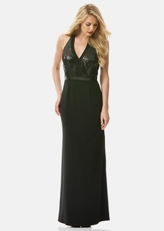 Laundry by Shelli Segal Sequin Bodice Crepe Halter Gown