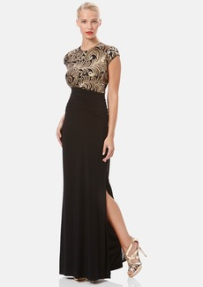 Laundry by Shelli Segal Sequin Bodice Ruched Jersey Gown