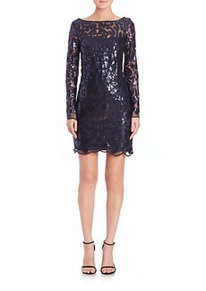 Laundry by Shelli Segal Sequin Scallop-Trimmed Dress