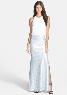 Laundry by Shelli Segal Sequin Skirt Blouson Gown