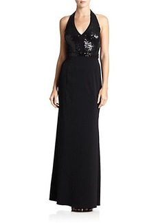 Laundry by Shelli Segal Sequin-Top Halter Gown