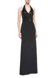 Laundry by Shelli Segal Sequined-Bodice Halter Gown