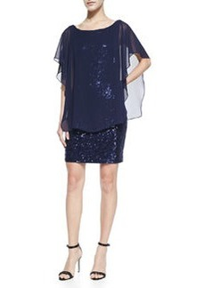 Laundry by Shelli Segal Sequined Cocktail Dress with Chiffon Popover