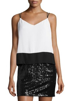 Laundry by Shelli Segal Sequined Colorblock Cocktail Dress