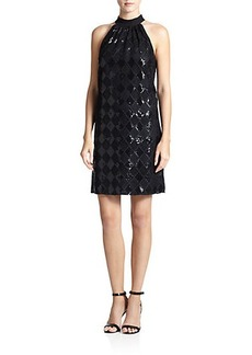 Laundry by Shelli Segal Sequined Diamond-Lace Dress