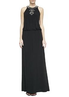 Laundry by Shelli Segal Sequined-Trim Halter Blouson Gown, Black