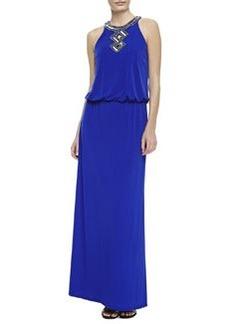 Laundry by Shelli Segal Sequined-Trim Halter Blouson Gown, Twilight Blue