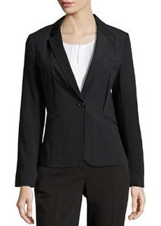 Laundry by Shelli Segal Shadow-Stripe 1-Button Jacket, Black Multi