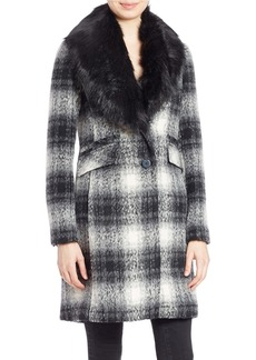 LAUNDRY BY SHELLI SEGAL Shawl Collar Faux Fur Coat