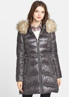 Laundry by Shelli Segal Shiny Quilted Anorak with Faux Fur Trim