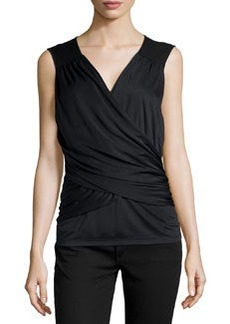 Laundry by Shelli Segal Shirred Chiffon Combo Wrap Top, Black