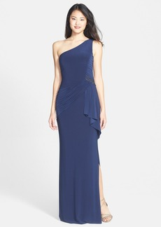 Laundry by Shelli Segal Shirred Jersey One-Shoulder Gown