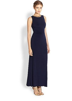 Laundry by Shelli Segal Shirred Necklace Gown