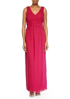 Laundry by Shelli Segal Shirred V-Neck Chiffon Gown