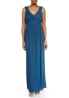 Laundry by Shelli Segal Shirred V-Neck Chiffon Gown, Cadet Blue