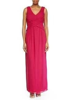 Laundry by Shelli Segal Shirred V-Neck Chiffon Gown, Cool Kiss Pink