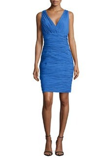 Laundry by Shelli Segal Shirred V-Neck Sleeveless Dress, Island
