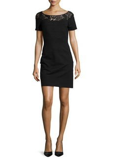 Laundry by Shelli Segal Short-Sleeve Knit Dress with Lace Neckline