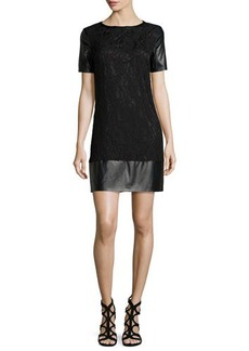 Laundry by Shelli Segal Short-Sleeve Lace & Leatherette Shift Dress