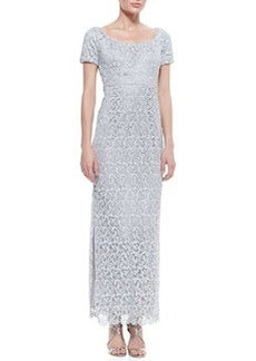 Laundry by Shelli Segal Short-Sleeve Lace Column Gown, Silver