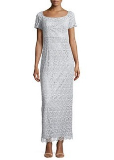 Laundry by Shelli Segal Short-Sleeve Lace Gown, Metallic Silver