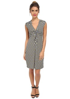 Laundry by Shelli Segal Short Sleeve Printed Dress with Front Twist