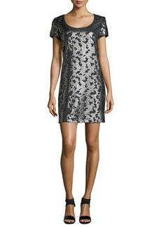 Laundry by Shelli Segal Short-Sleeve Sequined Knit Dress