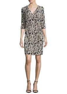 Laundry by Shelli Segal Side-Twist Wrap Dress, Black/Multi