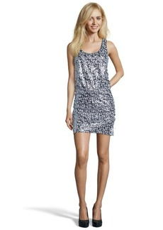 Laundry by Shelli Segal silver and black woven racerback sequined sleeveless dress
