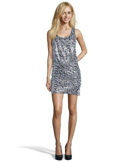 Laundry by Shelli Segal silver and green sequined racerback tank dress