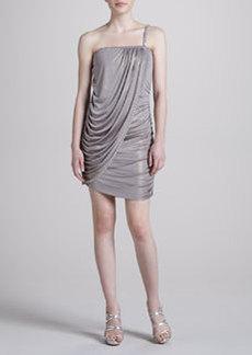 Laundry by Shelli Segal Skinny One-Strap Foil Wrap Dress