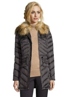 Laundry by Shelli Segal slate grey chevron quilted faux fur hooded down jacket