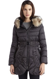 Laundry by Shelli Segal slate quilted down filled ip up belted faux fur coat