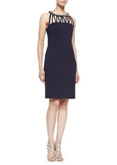 Laundry by Shelli Segal Sleeveless Beaded-Neck Cocktail Dress