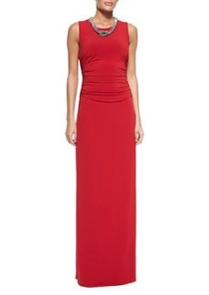 Laundry by Shelli Segal Sleeveless Beaded-Neck Jersey Gown