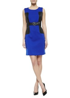 Laundry by Shelli Segal Sleeveless Belted Ponte Dress