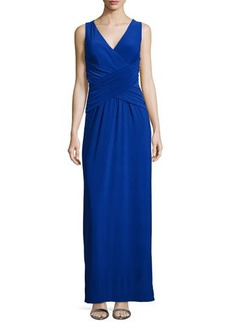 Laundry by Shelli Segal Sleeveless Crisscross Gown, Blue Beret