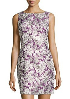 Laundry by Shelli Segal Sleeveless Damask-Print Dress, Bark Boysenberry/Multi