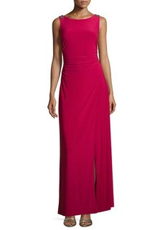 Laundry by Shelli Segal Sleeveless Draped-Back Crepe Gown