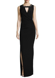 Laundry by Shelli Segal Sleeveless Embellished Jersey Gown