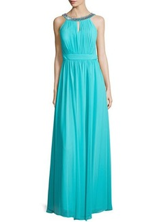 Laundry by Shelli Segal Sleeveless Embellished-Neck Gown