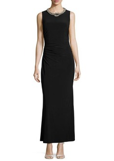 Laundry by Shelli Segal Sleeveless Embellished-Neck Gown, Black