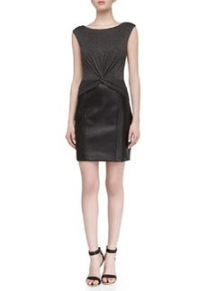 Laundry by Shelli Segal Sleeveless Faux-Leather Contrast Stretch Dress, Dark Charcoal